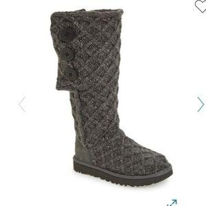 Ugg grey Lattice knit Cardy tall boots 8